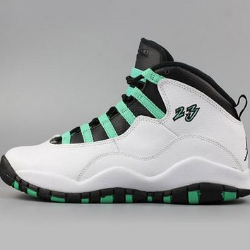 [Free Shipping ]Air Jordan 10 X Retro 30th Anniversary GG Verde White Black Infrared 705180-118  Basketball Sneaker
