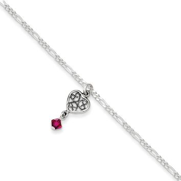 925 Sterling Silver 2mm Antiqued Dark Pink Crystal Dangling Heart Chain Necklace, Bracelet or Anklet