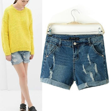 Ripped Holes Rinsed Denim Denim Shorts Jeans [6048113281]