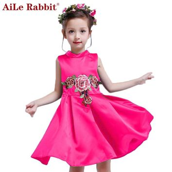 AiLe Rabbit Girls Fashion Princess Dress Embroidery Retractable Sleeveless Vest Dress Summer Flower Children's Clothing