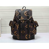 Louis Vuitton Casual retro versatile print stitching large-capacity travel bag backpack 1#