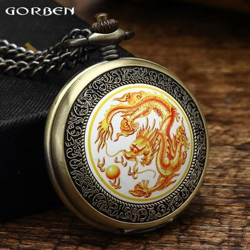 Vintage Chinese Dragon Design Quartz Pocket Watch Bronze Retro Men's Watches Fob Chain Necklace Gifts Box Pocket Watch Men Women