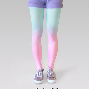 Ombre tights pink-turquoise