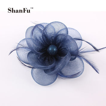 2015 New Women Feather Hair Accessories Sinamay Fascinators Brooch Ladies Wedding Party Fascinator Hats SFB6797 12pcs/lot