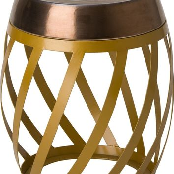 Lexa Metal Stool/Table Powedercoated Gold With A Gold Ceramic Top