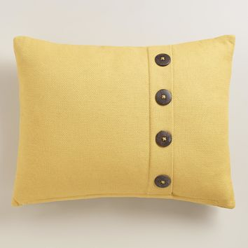 Willow Green Basketweave Lumbar Pillow with Buttons