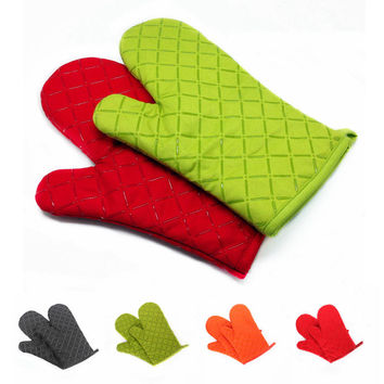1Pcs Silicone Coating Oven Mitts Microwave Oven BBQ Heat Resistant Potholder Gloves
