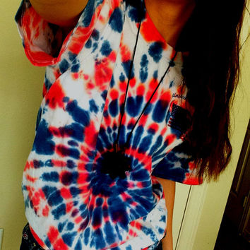 American Flag Red White and Blue Spiral Tie Dye T Shirt