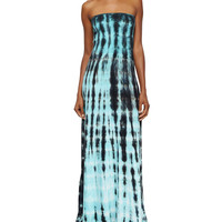 Women's Strapless Tie-Dye Maxi Dress, Olive Ocean Ripples - Young Fabulous and Broke - Olive