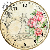 "Sewing Machine Pink Roses Art --DIY Digital Collage - 12.5"" DIA for 12"" Clock Face Art - Crafts Projects"