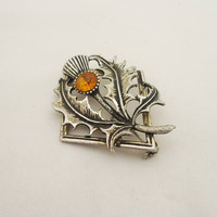 Vintage Scottish Thistle Flower Brooch, Silver Tone Thistle Brooch, Thistle Brooch with Amber Thinestone