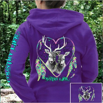 Country Life Feather Deer Dream Heart Pullover Shirt Hoodie