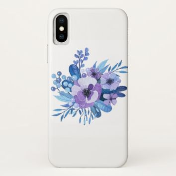 Blue Floral iPhone X Case