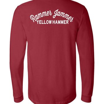 Official NCAA Venley University of Alabama Crimson Tide UA ROLL TIDE! Rammer Jammer Long Sleeve T-Shirt - 35AL-26