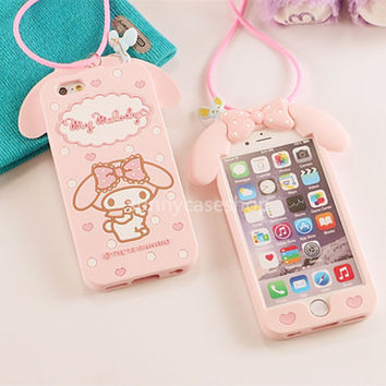 3D Cute Pink My Melody Rabbit Silicone Case cover for Apple iphone 6 6S plus 5S