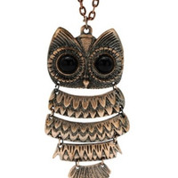 Long Owl Pendant Necklace... Chain Necklace with Copper Owl...Jewelry...