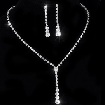 African Jewelry Set Crystal Tennis Drop Necklace Set new Rhinestone Necklace Earrings Bridal Bridesmaid Wedding Jewelry sets