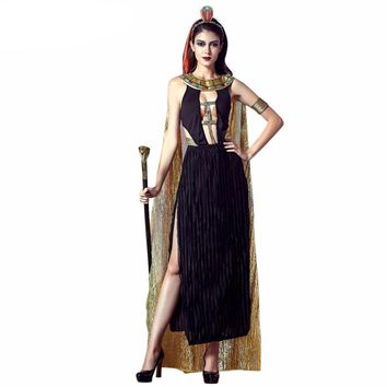 JIZHENGHOUSE Sexy Deluxe Ladies Fancy Dress Egypt Womens Costume Egyptian Goddess Costume Egypt Queen Cosplay Costume