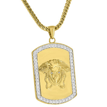 Medusa Head Dog tag Pendant Iced Out Simulated Diamonds 18K Gold Finish