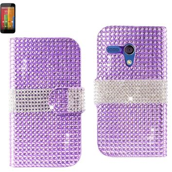 Reiko Diamond Flip Case Motorola Moto G Purple