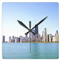 Airbrushed Digital Painting of Chicago Square Wall Clock
