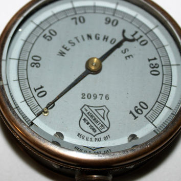 Antique Solid Brass Westinghouse 160PSI Pressure Gauge, Ashcroft MFG Co. #20976