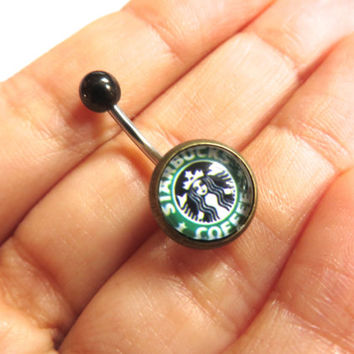 Belly Button Jewelry- Starbucks Coffee Logo Ad Navel Piercing Ring Stud Bar Barbell