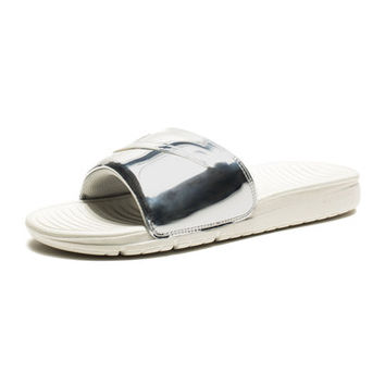 NIKE BENASSI SOLARSOFT SLIDE LIQUID METAL PACK SP - METALLIC SILVER | Undefeated