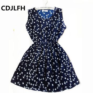 CDJLFH Bohemian  Summer Autumn Boho Style Dress Women Round Neck Beach Dresses Vest Printed Beach Chiffon Stars Casual Dress Vestidos