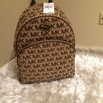 NEW Michael Kors Large Abbey Backpack MK Signature Monogram Bag