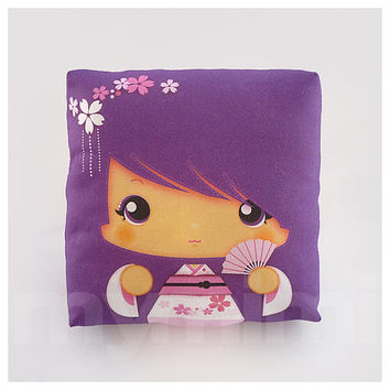 Kawaii Girl, Girls Pillow, Geisha Pillow, Purple Pillow, Japanese Kokeshi Doll, Kawaii Print, Throw Pillow, Girls Room Decor, Dorm, 7 x 7""