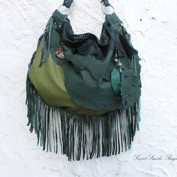 Spring Green Tribal leather raw edges slouchy bag  fringed t fringe raw tote hobo tribal coco wood  button
