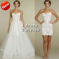 2 IN 1 TULLE AND LACE STRAPLESS WEDDING DRESSES BRIDAL GOWN CUSTOM SIZE 4 6 8 10