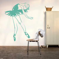 Ballerina Pointes Wall Decal Vinyl Sticker Decals Art Decor Design Gymnastics Ballet Dancer Acrobatics Girl Sport Jump Bedroom Living (i24)