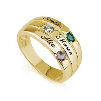 Mothers Ring Engraved Birthstone Ring 3 Stones Ring -925 Sterling Silver Plated in 18k Gold- Personalized & Custom Made (7)