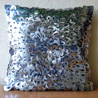 Decorative Throw Pillow Covers 16x16 PiIlows Accent Pillow Cases Couch Pillow Bed Pillows Silver Pillows Metallic Pillows Metallic Floral