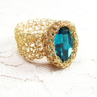 Crochet Wire Goldfilled Ring with Turquoise Oval by SigalsDesigns