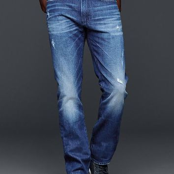 Gap Men 1969 Slim Fit Jeans Bright Broken Blue Wash