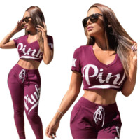 PINK two piece long pants V collar navel sports suit