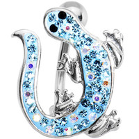Aqua Cubic Zirconia IZZY LIZZY Curvaceous Belly Ring | Body Candy Body Jewelry