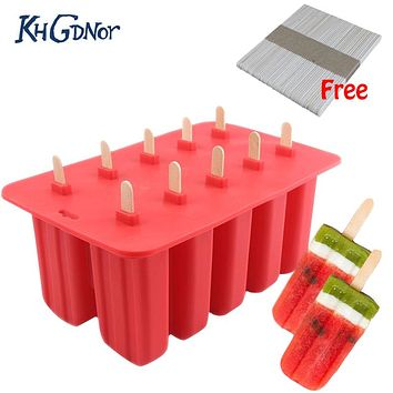 Food Grade Silicone Popsicle Mold Ice Cream Tray Summer Cool Ice Popsicle Mold With Cover Kitchen Mold