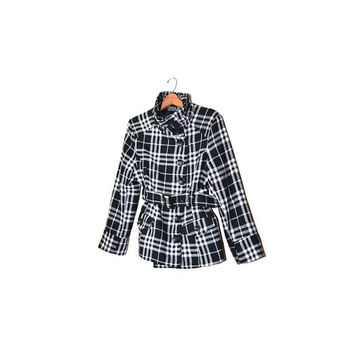 Vintage Plaid Jacket Womens Plaid Coat Black and White Jacket Womens Plaid Pea coat Plaid Car Coat