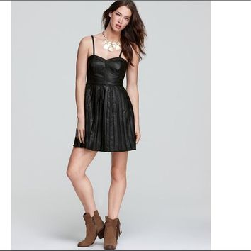 Free People Vegan Leather Pleat Dress