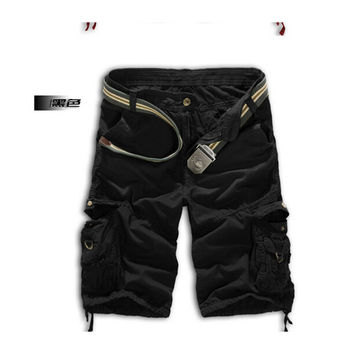 Men Shorts Casual Cargo Combat Camouflage Sports Pants     black