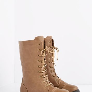 Taupe Metallic Laced Combat Boot - Wide Width | Wide Width Shoes | rue21