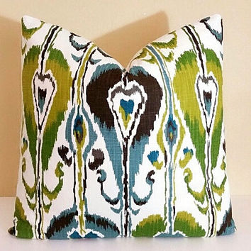 Blue Ikat Pillow Robert Allen Rain Bands Ikat Pillow Cover 16x16 18x18 20x20 22x22 24x24 26x26