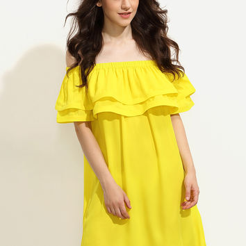 Yellow Ruffle Off The Shoulder Shift Dress | MakeMeChic.COM