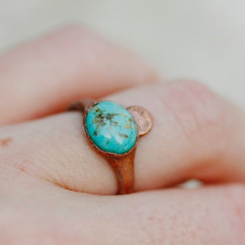 Gypsy Ring: turquoise moon ring, stacking rings, boho rings, simple turquoise engagement ring, raw bohemian natural rough midi wedding