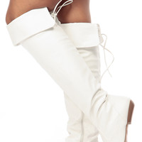 White Faux Leather Over the Knee Boots