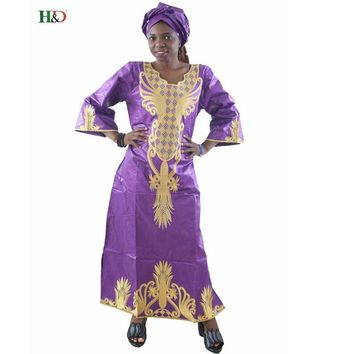 H&D African Dresses wax style Cotton Fabric Top Traditional Bazin Riche African Clothing Designs Fashion africa clothing robe